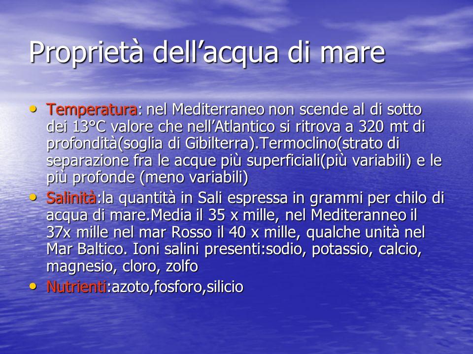 Proprietà dellacqua di mare Temperatura: nel Mediterraneo non scende al di sotto dei 13°C valore che nellAtlantico si ritrova a 320 mt di profondità(s
