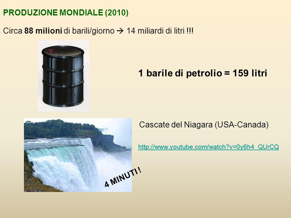 PRODUZIONE MONDIALE (2010) Circa 88 milioni di barili/giorno 14 miliardi di litri !!.