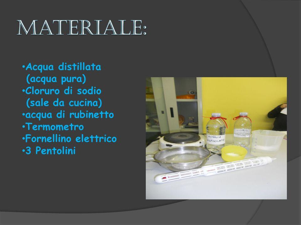Acqua distillata (acqua pura) Cloruro di sodio (sale da cucina) acqua di rubinetto Termometro Fornellino elettrico 3 Pentolini
