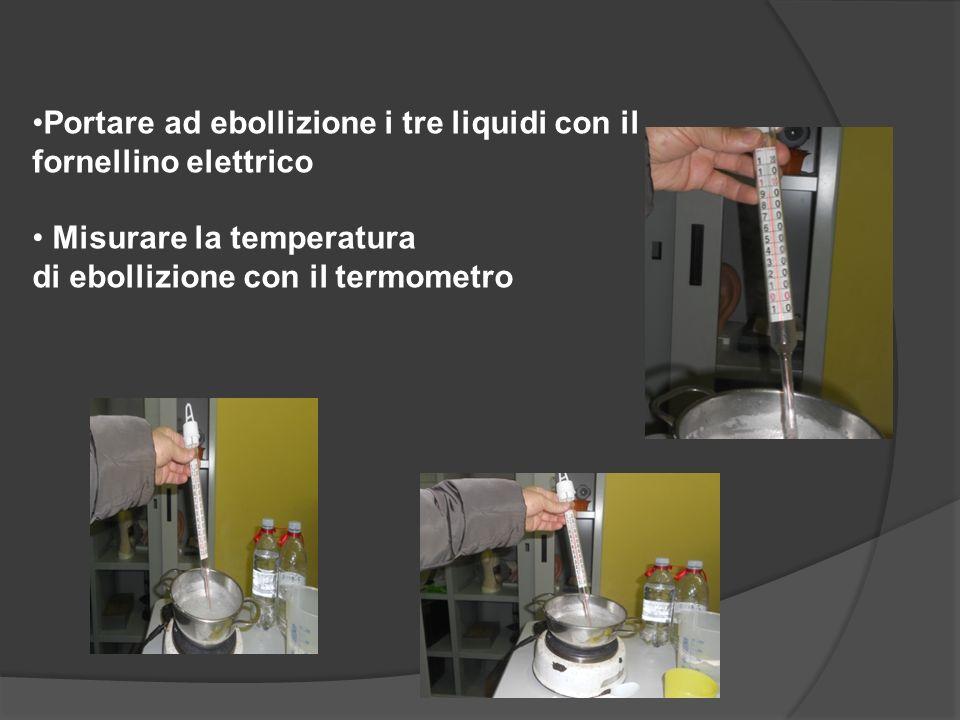 Portare ad ebollizione i tre liquidi con il fornellino elettrico Misurare la temperatura di ebollizione con il termometro