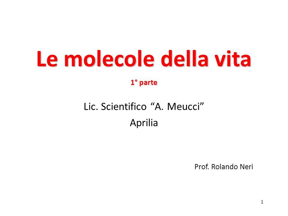 1 Le molecole della vita 1° parte Lic. Scientifico A. Meucci Aprilia Prof. Rolando Neri
