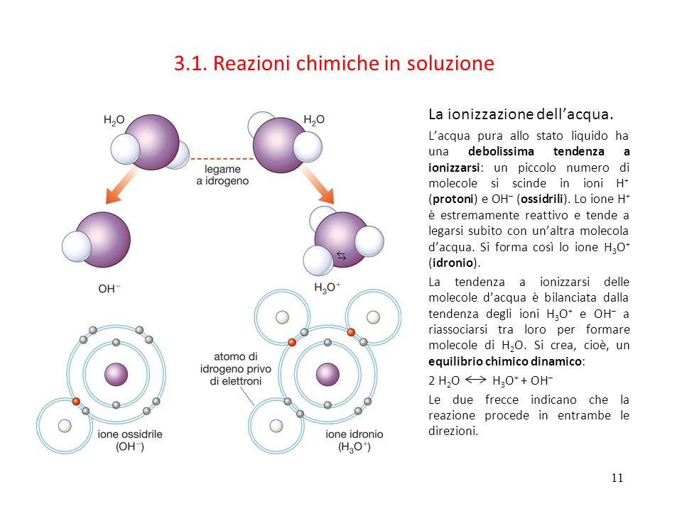 11 3.1. Reazioni chimiche in soluzione La ionizzazione dellacqua. Lacqua pura allo stato liquido ha una debolissima tendenza a ionizzarsi: un piccolo