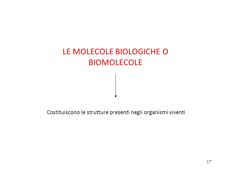 17 LE MOLECOLE BIOLOGICHE O BIOMOLECOLE Costituiscono le strutture presenti negli organismi viventi