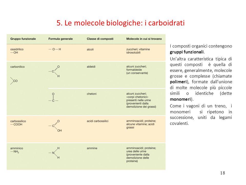 18 5. Le molecole biologiche: i carboidrati I composti organici contengono gruppi funzionali. Unaltra caratteristica tipica di questi composti è quell