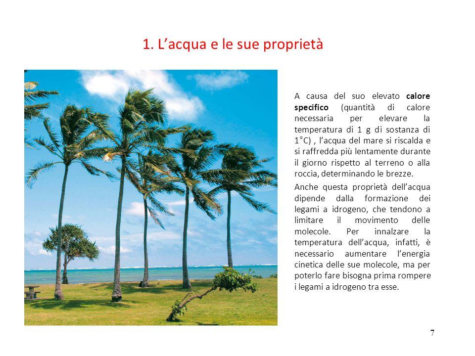 7 1. Lacqua e le sue proprietà A causa del suo elevato calore specifico (quantità di calore necessaria per elevare la temperatura di 1 g di sostanza d
