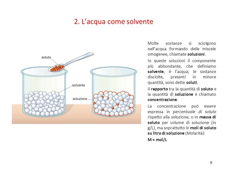 9 2. Lacqua come solvente Molte sostanze si sciolgono nellacqua formando delle miscele omogenee, chiamate soluzioni. In queste soluzioni il componente