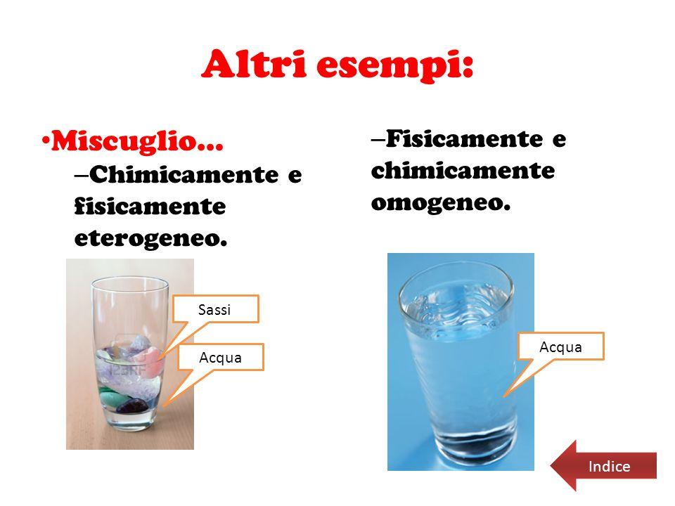 Altri esempi: Miscuglio… – Chimicamente e fisicamente eterogeneo. – Fisicamente e chimicamente omogeneo. Acqua Sassi Acqua Indice