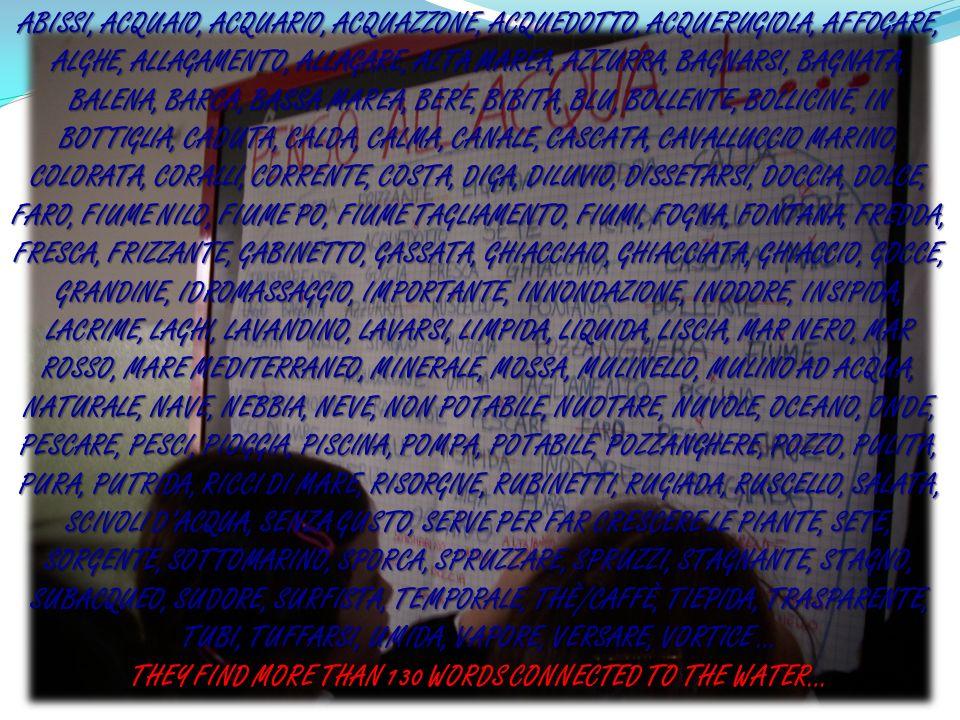 ABISSI, ACQUAIO, ACQUARIO, ACQUAZZONE, ACQUEDOTTO, ACQUERUGIOLA, AFFOGARE, ALGHE, ALLAGAMENTO, ALLAGARE, ALTA MAREA, AZZURRA, BAGNARSI, BAGNATA, BALEN