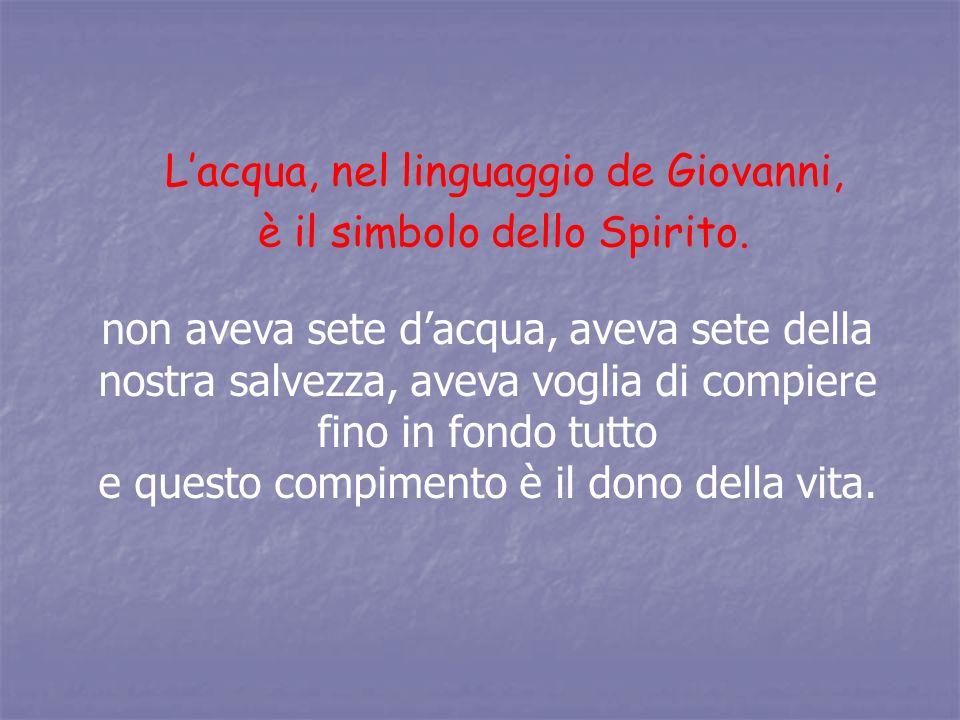 Lacqua, nel linguaggio de Giovanni, è il simbolo dello Spirito. non aveva sete dacqua, aveva sete della nostra salvezza, aveva voglia di compiere fino