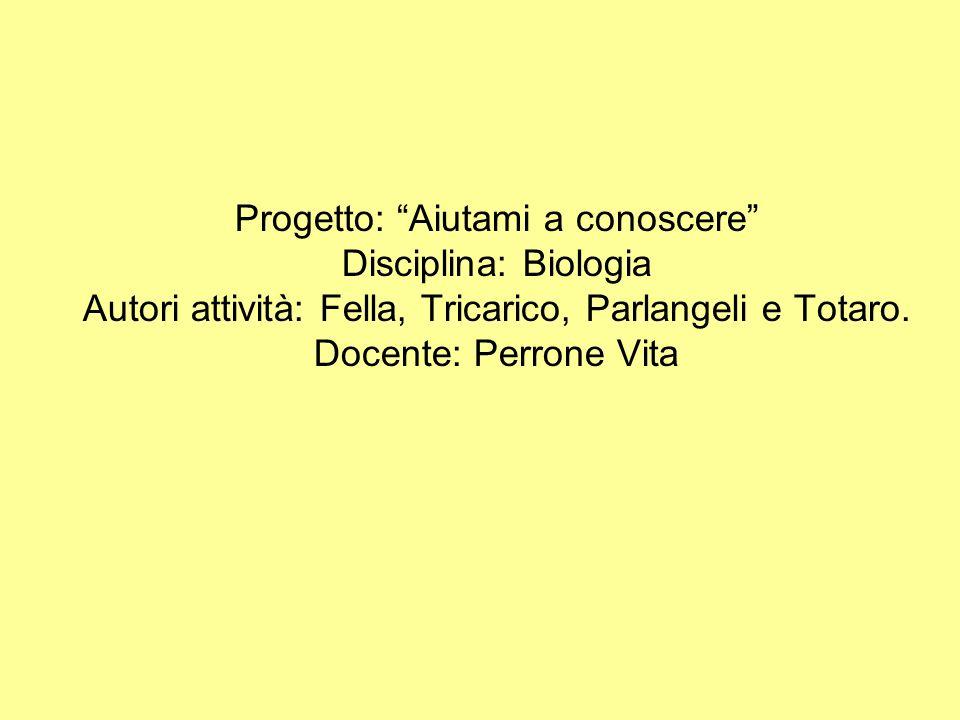 Progetto: Aiutami a conoscere Disciplina: Biologia Autori attività: Fella, Tricarico, Parlangeli e Totaro. Docente: Perrone Vita