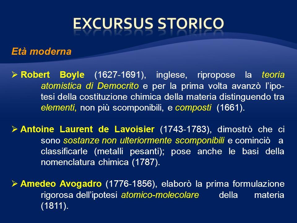 Età moderna Robert Boyle (1627-1691), inglese, ripropose la teoria atomistica di Democrito e per la prima volta avanzò lipo- tesi della costituzione chimica della materia distinguendo tra elementi, non più scomponibili, e composti (1661).