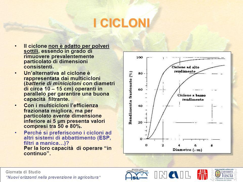 Giornata di Studio Nuovi orizzonti nella prevenzione in agricoltura I CICLONI Il ciclone non è adatto per polveri sottili, essendo in grado di rimuove