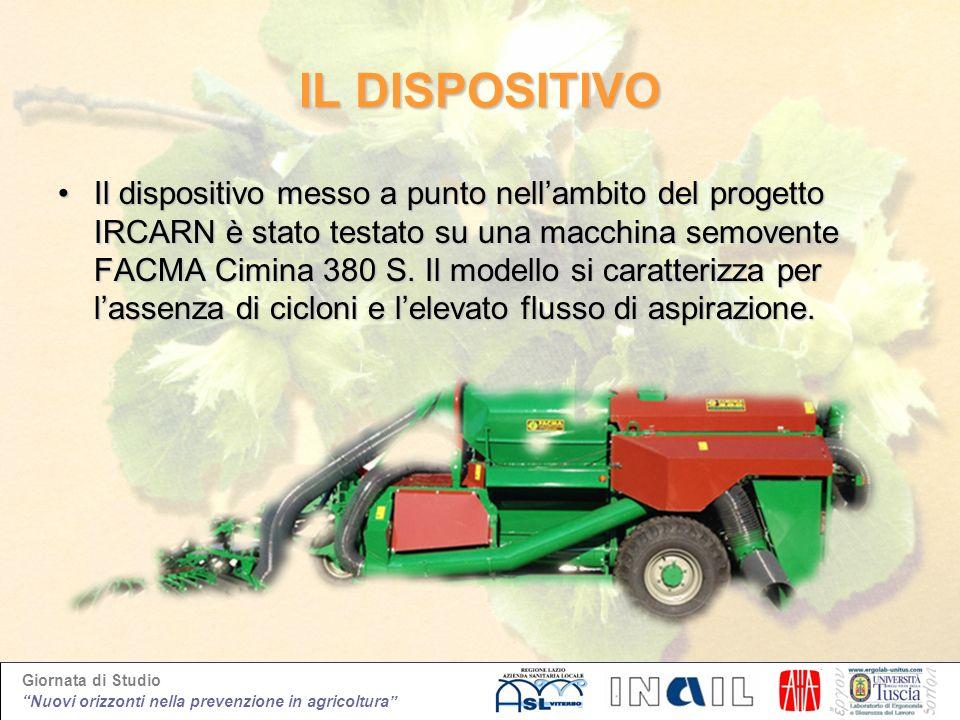 Giornata di Studio Nuovi orizzonti nella prevenzione in agricoltura IL DISPOSITIVO Il dispositivo messo a punto nellambito del progetto IRCARN è stato