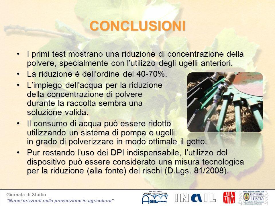 Giornata di Studio Nuovi orizzonti nella prevenzione in agricoltura CONCLUSIONI I primi test mostrano una riduzione di concentrazione della polvere, s
