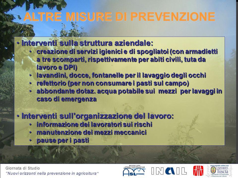 Giornata di Studio Nuovi orizzonti nella prevenzione in agricoltura ALTRE MISURE DI PREVENZIONE Interventi sulla struttura aziendale:Interventi sulla