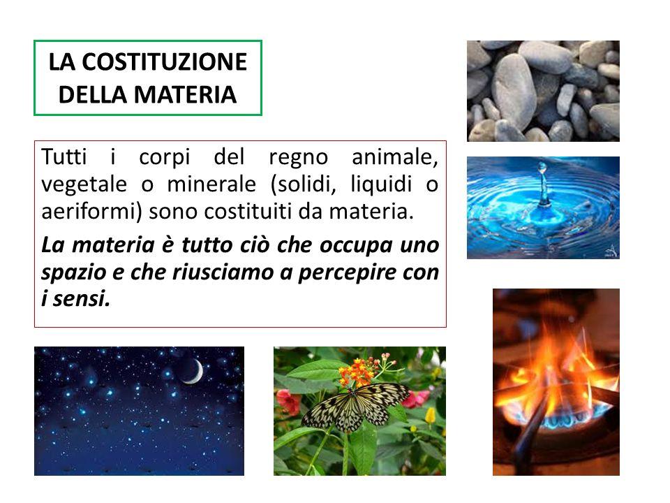 LA COSTITUZIONE DELLA MATERIA Tutti i corpi del regno animale, vegetale o minerale (solidi, liquidi o aeriformi) sono costituiti da materia.