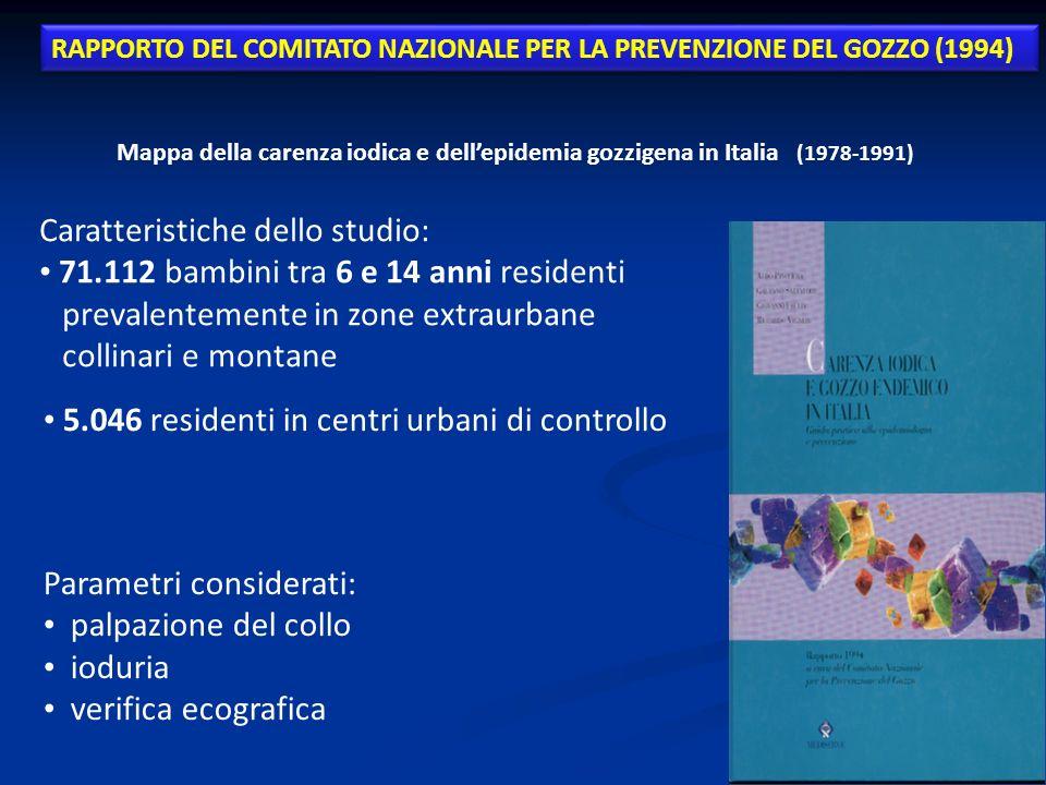 Mappa della carenza iodica e dellepidemia gozzigena in Italia (1978-1991) Caratteristiche dello studio: 71.112 bambini tra 6 e 14 anni residenti preva