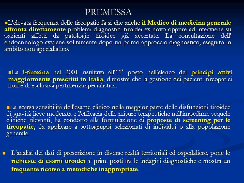 Mappa della carenza iodica e dellepidemia gozzigena in Italia (1978-1991) Caratteristiche dello studio: 71.112 bambini tra 6 e 14 anni residenti prevalentemente in zone extraurbane collinari e montane 5.046 residenti in centri urbani di controllo Parametri considerati: palpazione del collo ioduria verifica ecografica RAPPORTO DEL COMITATO NAZIONALE PER LA PREVENZIONE DEL GOZZO (1994)