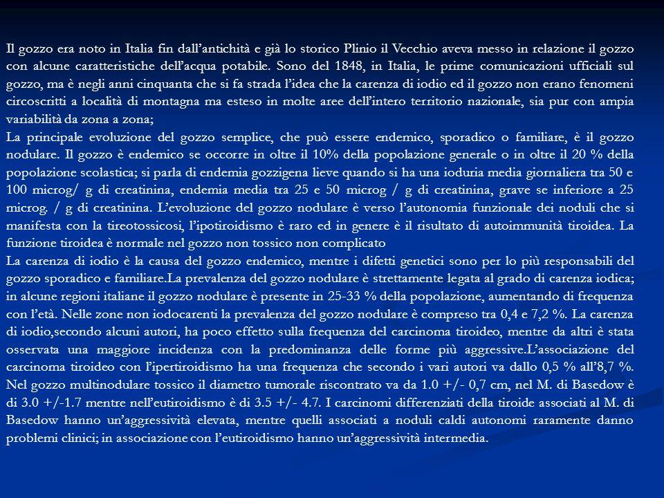 Quanto alla diffusione del gozzo in Italia la leva del 1863 ne disegna le proporzioni nel modo che ben nettamente dimostra la seguente: Tabella dei riformati per gozzi per ogni 10 mila coscritti.