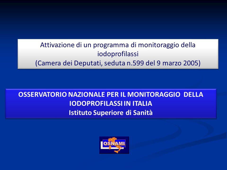 Attivazione di un programma di monitoraggio della iodoprofilassi (Camera dei Deputati, seduta n.599 del 9 marzo 2005) Attivazione di un programma di m