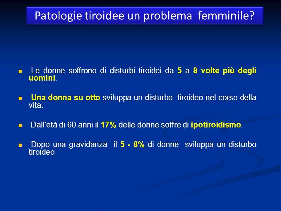 Patologie tiroidee un problema femminile? Le donne soffrono di disturbi tiroidei da 5 a 8 volte più degli uomini. Una donna su otto sviluppa un distur