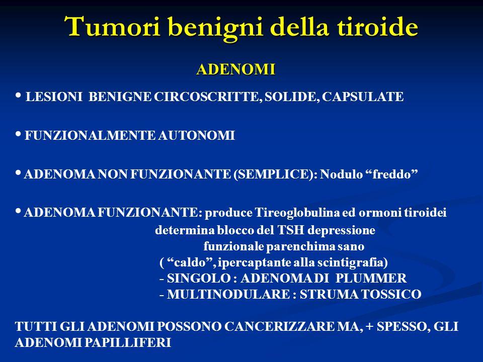 Tumori benigni della tiroide ADENOMI LESIONI BENIGNE CIRCOSCRITTE, SOLIDE, CAPSULATE FUNZIONALMENTE AUTONOMI ADENOMA NON FUNZIONANTE (SEMPLICE): Nodul