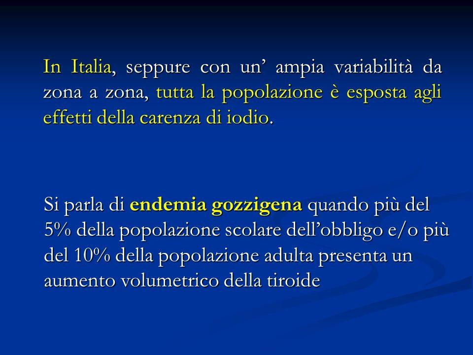 Prevalenza dei noduli tiroidei clinicamente palpabili Popolazioni in aree iodio-sufficienti: ~ 5% Popolazioni in aree iodio-sufficienti: ~ 5% Popolazioni in aree iodio-carenti: 10-15% Popolazioni in aree iodio-carenti: 10-15% Prevalenza ecografica dei noduli tiroidei non-palpabili Popolazioni in aree iodio-sufficienti: 25-40% In soggetti con nodulo palpabile si dimostrano altri noduli nel 20- 40% dei casi