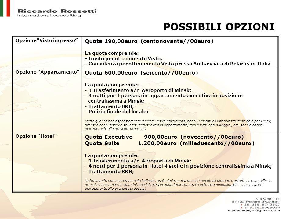 POSSIBILI OPZIONI OpzioneVisto ingresso Quota 190,00euro (centonovanta//00euro) La quota comprende: - Invito per ottenimento Visto.