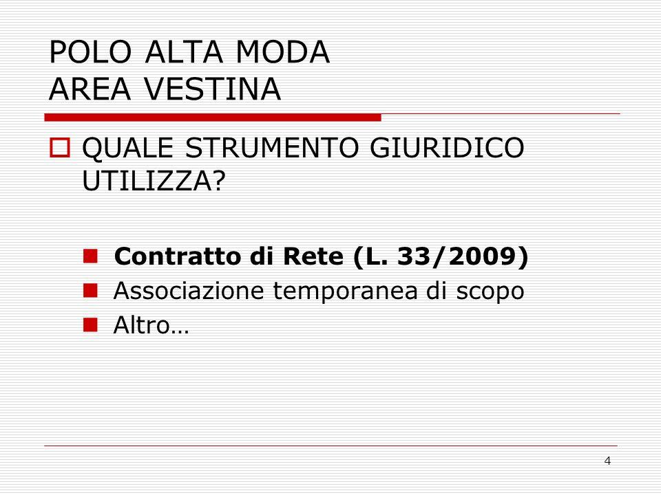 4 POLO ALTA MODA AREA VESTINA QUALE STRUMENTO GIURIDICO UTILIZZA.