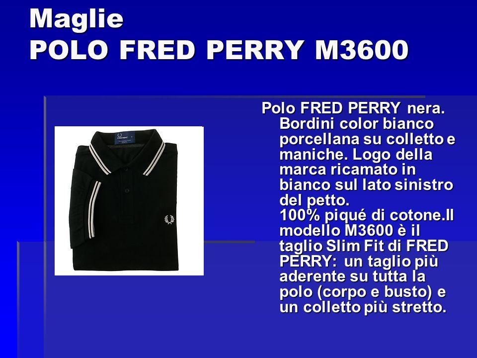 Maglie POLO FRED PERRY M3600 Polo FRED PERRY nera. Bordini color bianco porcellana su colletto e maniche. Logo della marca ricamato in bianco sul lato