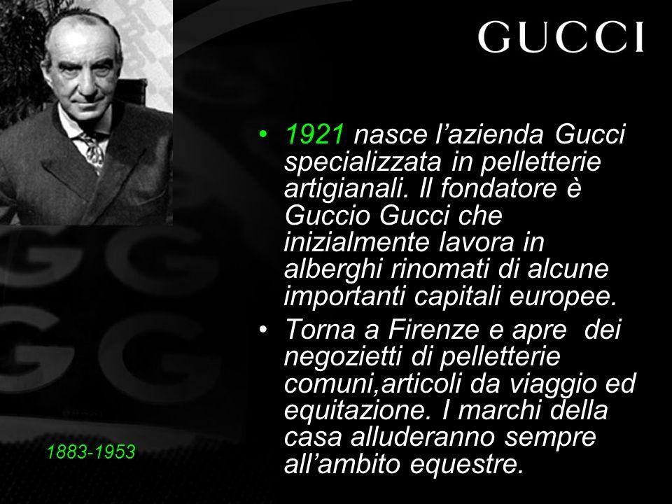1921 nasce lazienda Gucci specializzata in pelletterie artigianali.