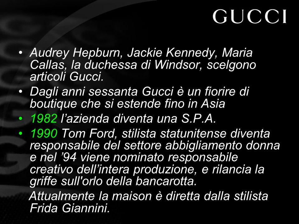 Audrey Hepburn, Jackie Kennedy, Maria Callas, la duchessa di Windsor, scelgono articoli Gucci.