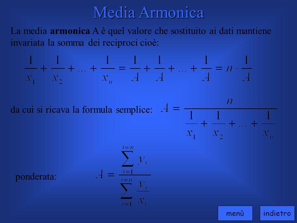 Media Armonica La media armonica A è quel valore che sostituito ai dati mantiene invariata la somma dei reciproci cioè: da cui si ricava la formula semplice: ponderata: indietromenù