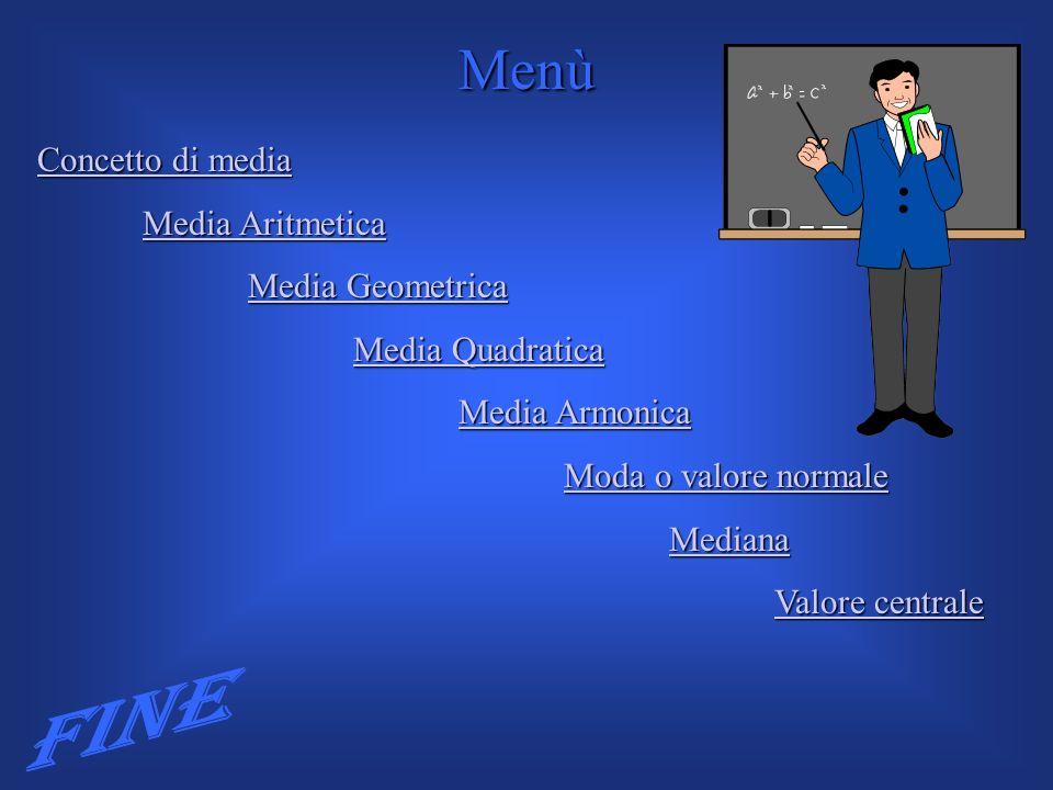 Concetto di media Concetto di media Media Aritmetica Media Aritmetica Media Geometrica Media Geometrica Media Quadratica Media Quadratica Media Armoni