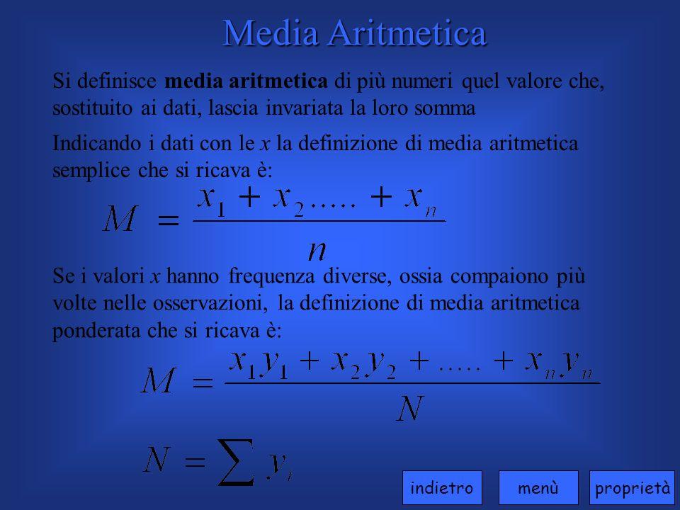Media Aritmetica Si definisce media aritmetica di più numeri quel valore che, sostituito ai dati, lascia invariata la loro somma Indicando i dati con le x la definizione di media aritmetica semplice che si ricava è: Se i valori x hanno frequenza diverse, ossia compaiono più volte nelle osservazioni, la definizione di media aritmetica ponderata che si ricava è: proprietàmenùindietro