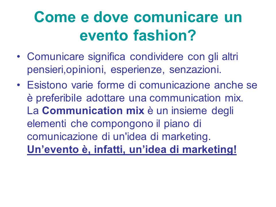 Come e dove comunicare un evento fashion? Comunicare significa condividere con gli altri pensieri,opinioni, esperienze, senzazioni. Esistono varie for