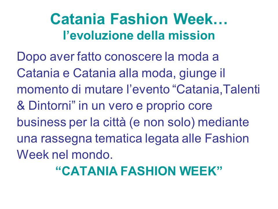 Catania Fashion Week… levoluzione della mission Dopo aver fatto conoscere la moda a Catania e Catania alla moda, giunge il momento di mutare levento C