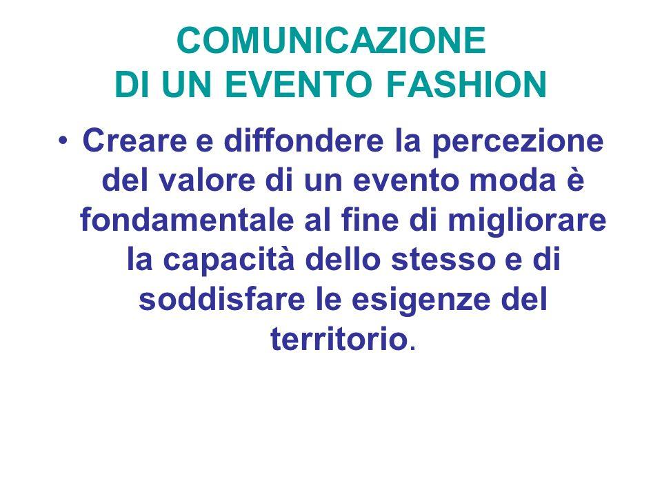 COMUNICAZIONE DI UN EVENTO FASHION Creare e diffondere la percezione del valore di un evento moda è fondamentale al fine di migliorare la capacità del