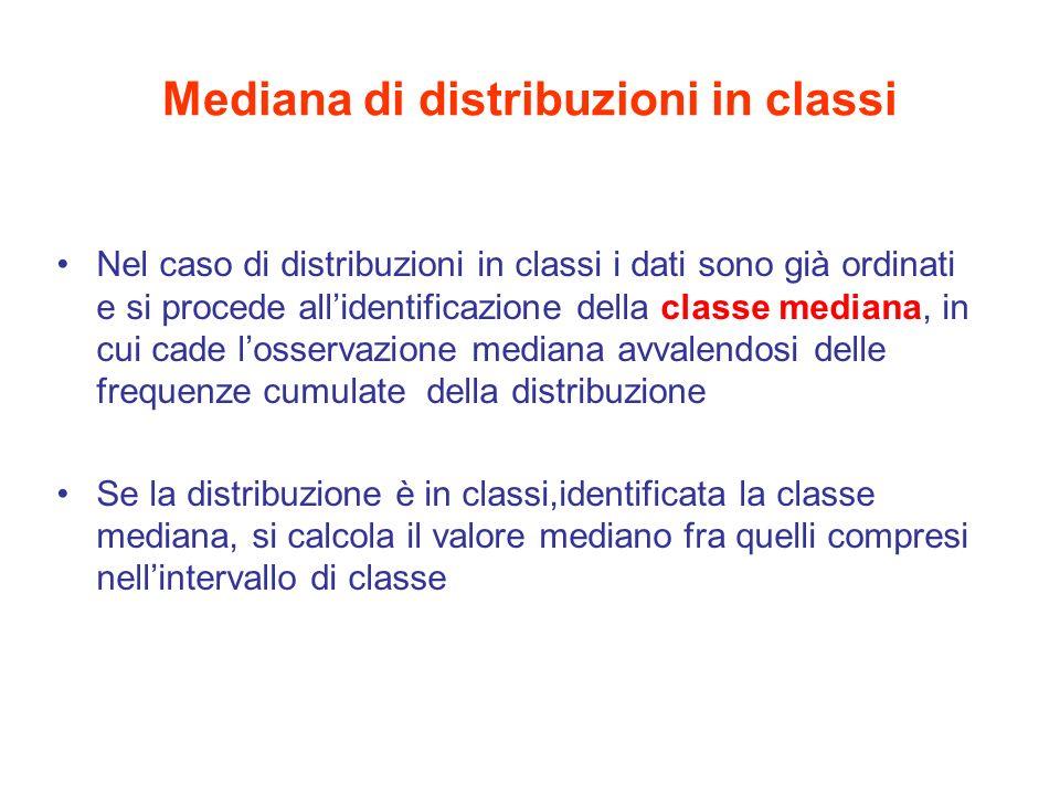 Mediana di distribuzioni in classi Nel caso di distribuzioni in classi i dati sono già ordinati e si procede allidentificazione della classe mediana,