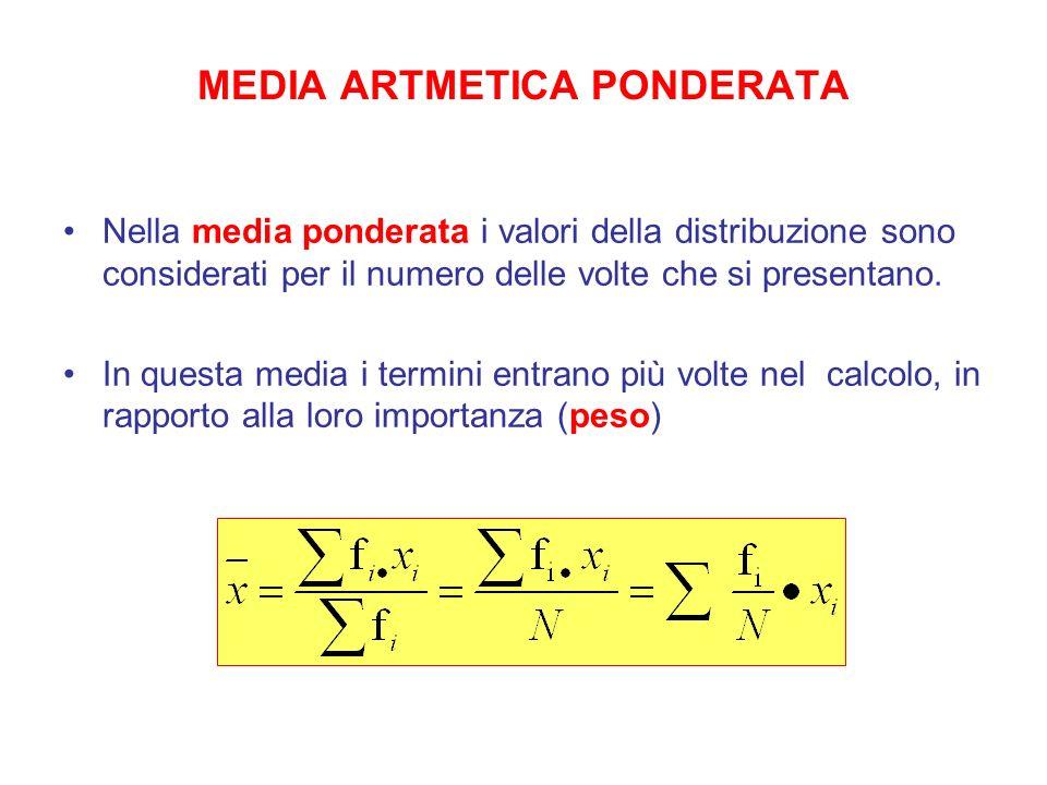 MEDIA ARTMETICA PONDERATA Nella media ponderata i valori della distribuzione sono considerati per il numero delle volte che si presentano. In questa m
