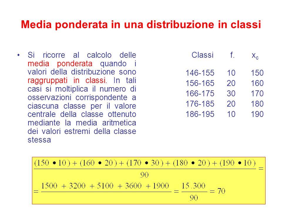 Media ponderata in una distribuzione in classi Si ricorre al calcolo delle media ponderata quando i valori della distribuzione sono raggruppati in cla