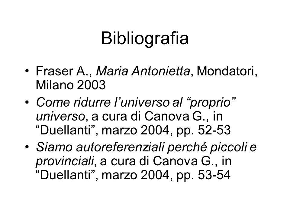Bibliografia Fraser A., Maria Antonietta, Mondatori, Milano 2003 Come ridurre luniverso al proprio universo, a cura di Canova G., in Duellanti, marzo 2004, pp.