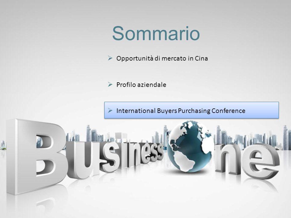 Sommario Opportunità di mercato in Cina Profilo aziendale International Buyers Purchasing Conference