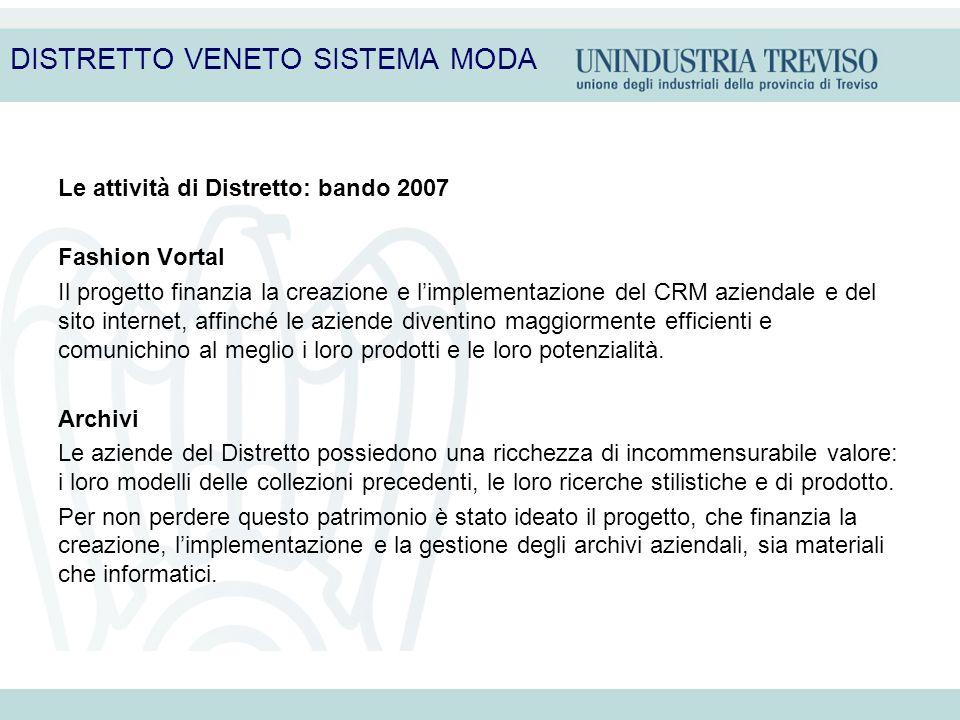 Le attività di Distretto: bando 2007 Fashion Vortal Il progetto finanzia la creazione e limplementazione del CRM aziendale e del sito internet, affinc