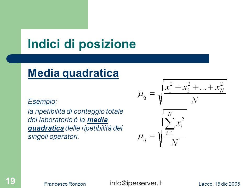 Lecco, 15 dic 2005Francesco Ronzon 19 Indici di posizione Media quadratica Esempio: la ripetibilità di conteggio totale del laboratorio è la media qua