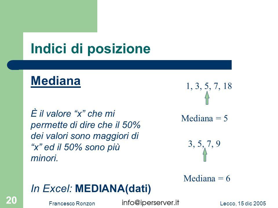 Lecco, 15 dic 2005Francesco Ronzon 20 Indici di posizione Mediana È il valore x che mi permette di dire che il 50% dei valori sono maggiori di x ed il