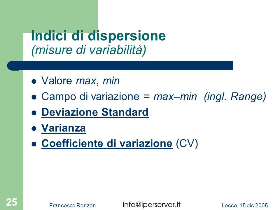 Lecco, 15 dic 2005Francesco Ronzon 25 Indici di dispersione (misure di variabilità) Valore max, min Campo di variazione = max–min (ingl. Range) Deviaz