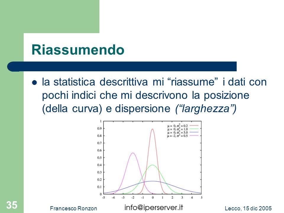 Lecco, 15 dic 2005Francesco Ronzon 35 Riassumendo la statistica descrittiva mi riassume i dati con pochi indici che mi descrivono la posizione (della