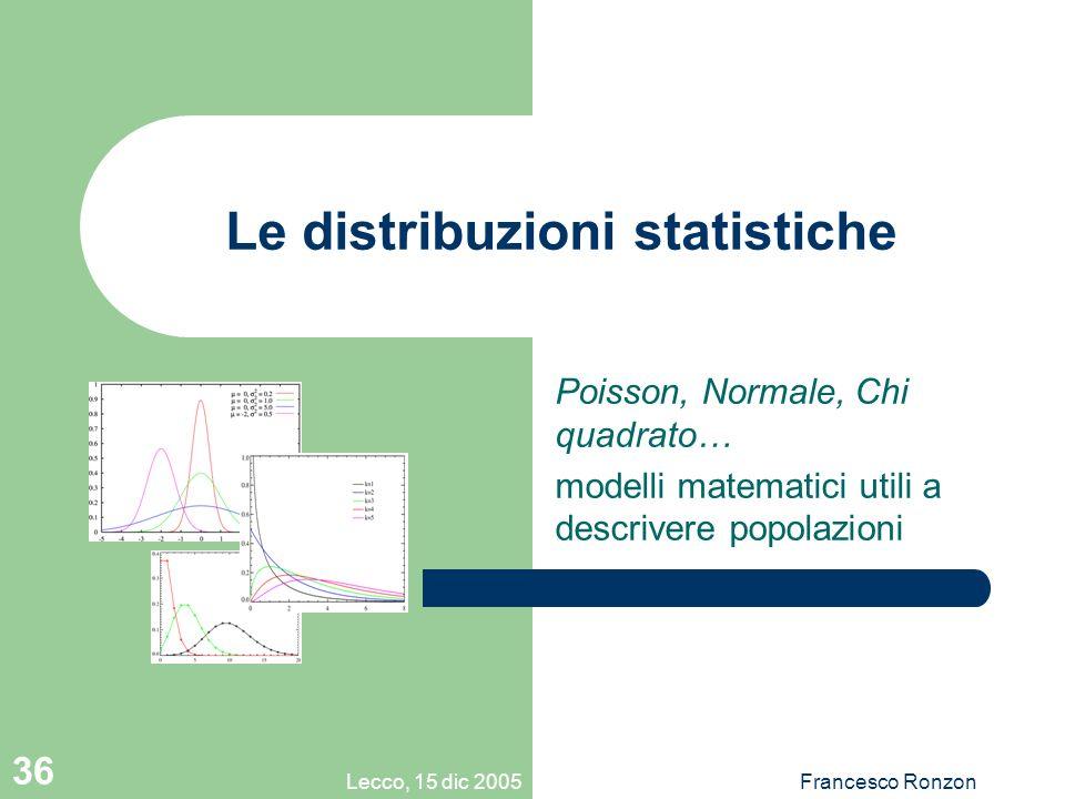 Lecco, 15 dic 2005Francesco Ronzon 36 Le distribuzioni statistiche Poisson, Normale, Chi quadrato… modelli matematici utili a descrivere popolazioni