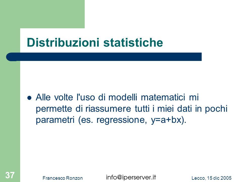 Lecco, 15 dic 2005Francesco Ronzon 37 Distribuzioni statistiche Alle volte l'uso di modelli matematici mi permette di riassumere tutti i miei dati in